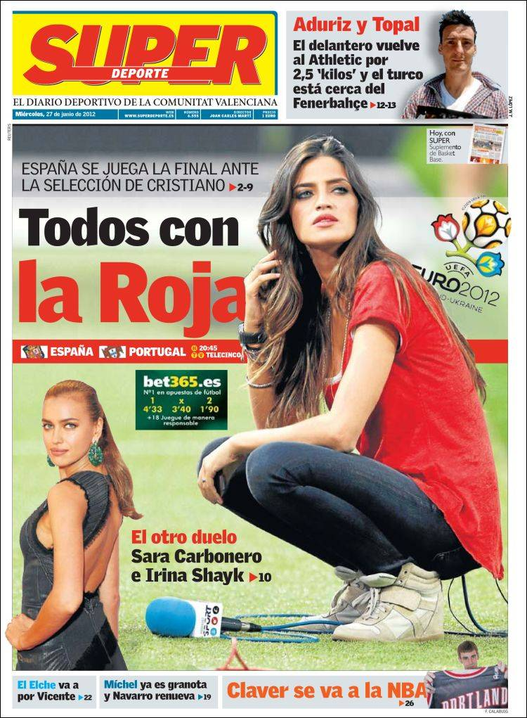 Irina Shayk contra Sara Carbonero, el duelo en portada de 'Superdeporte'