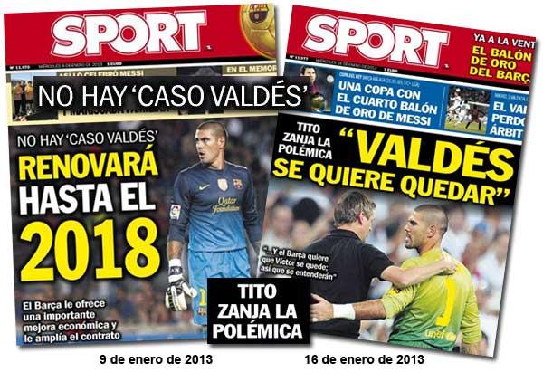 Sport dijo que Víctor Valdés renovaría