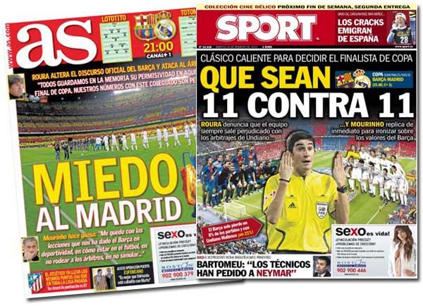 Portadas de As y Sport antes del Barça-Madrid de semifinales de Copa del Rey