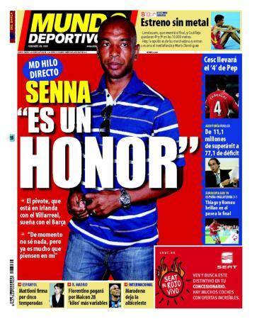 Marcos Senna en la portada del diario Sport