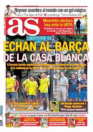 Portada diario As: Echan al Barça de la Casa Blanca