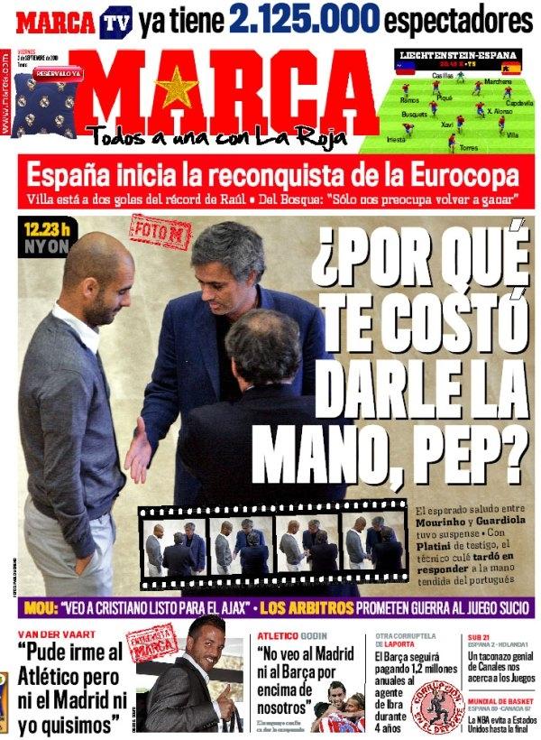 Pep Guardiola y José Mourinho en portada de Marca