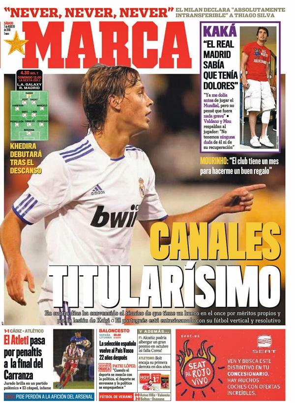 Sergio Canales en portada del diario Marca