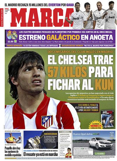 Sergio Kun Agüero en portada del diario Marca