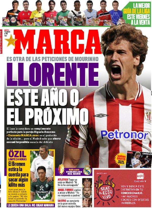 Fernando Llorente en portada del diario Marca