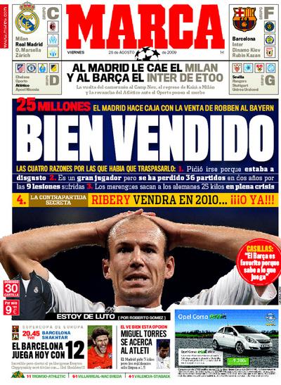 Bien vendido: Arjen Robben portada del diario Marca