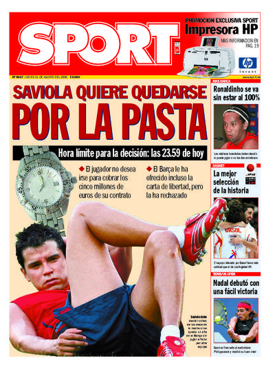 Javier Saviola en portada del diario Sport