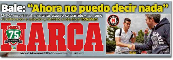 Gareth Bale en portada del diario Marca