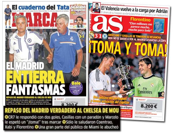 Mourinho y Ancelotti en las portadas de As y Marca