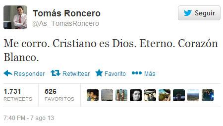 Captura del Twitter de Tomás Roncero