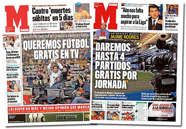El fútbol gratis en las portadas de Marca