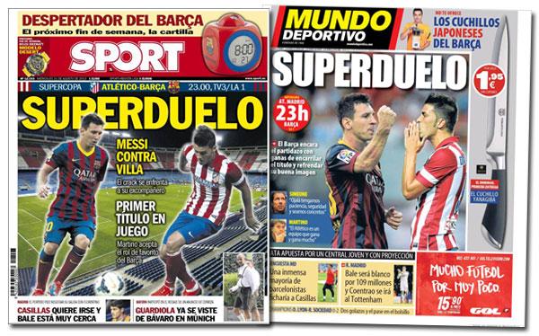 Portadas de Sport y Mundo Deportivo: superduelo
