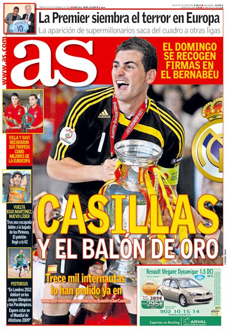 Casillas y el Balón de Oro en portada del diario As