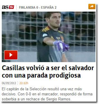 Iker Casillas ante Finlandia