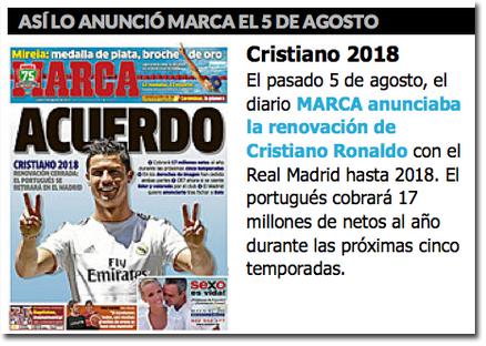 La renovación de Cristiano Ronaldo en Marca