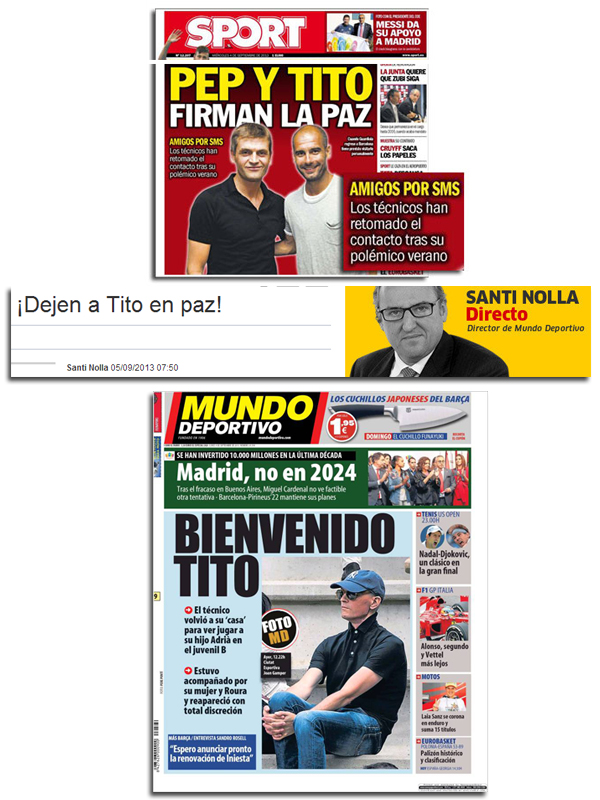 Santi Nolla y Mundo Deportivo, dejando a Tito en paz