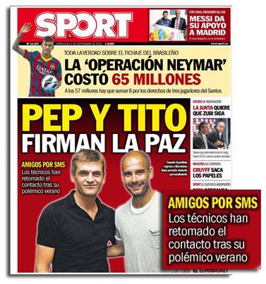 Tito Vilanova y Pep Guardiola en portada del diario Sport