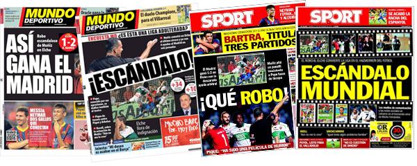 El árbitro Muñiz Fernández en las portadas de Barcelona