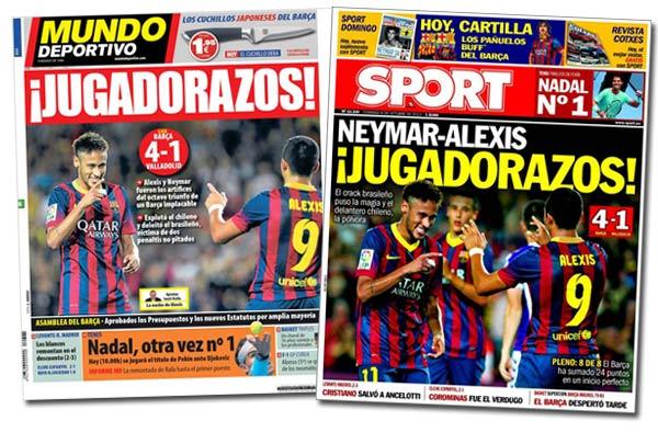 Alexis Sánchez y Neymar en las portadas de Sport y Mundo Deportivo