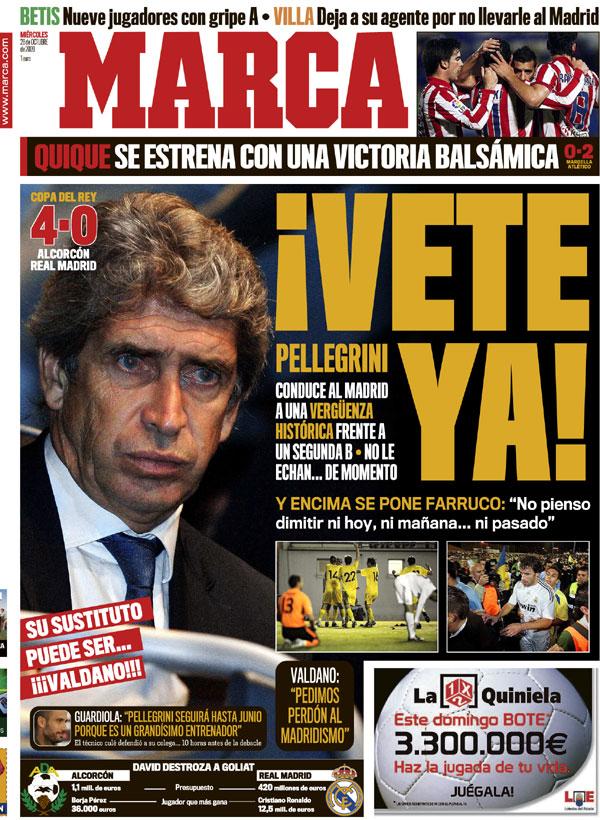 Manuel Pellegrini en portada del diario Marca