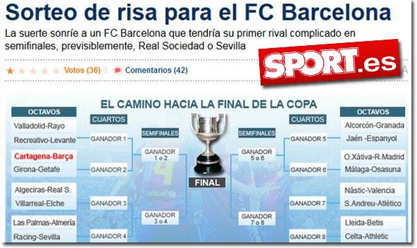 El sorteo de Copa del Rey en el diario Sport