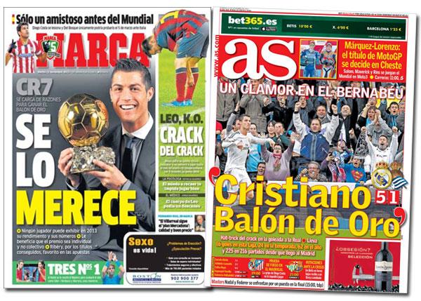 Cristiano Ronaldo y el Balón de Oro en As y Marca