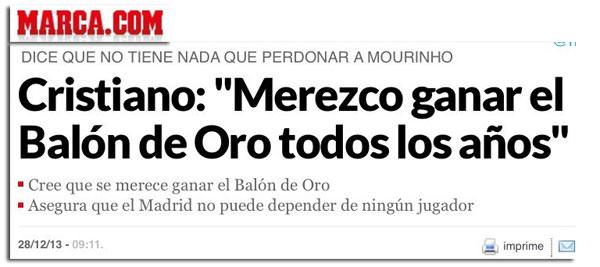 Cristiano Ronaldo y el Balón de Oro en el diario Marca