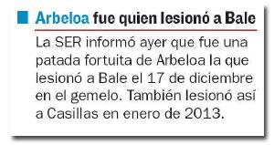 La lesión de Bale en el diario 'As'