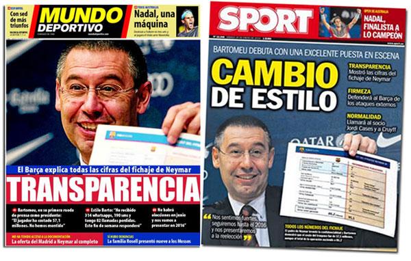 El presidente del FC Barcelona en portada de Mundo Deportivo y Sport