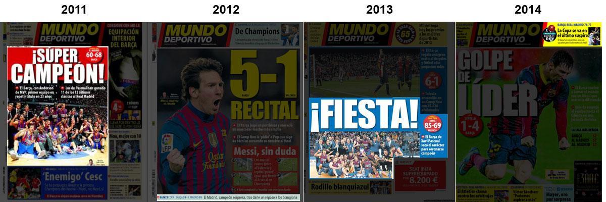 Portadas del diario Mundo Deportivo con la Copa del Rey de baloncesto