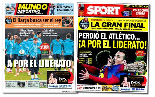 Portadas de los diarios 'Mundo Deportivo' y 'Sport'