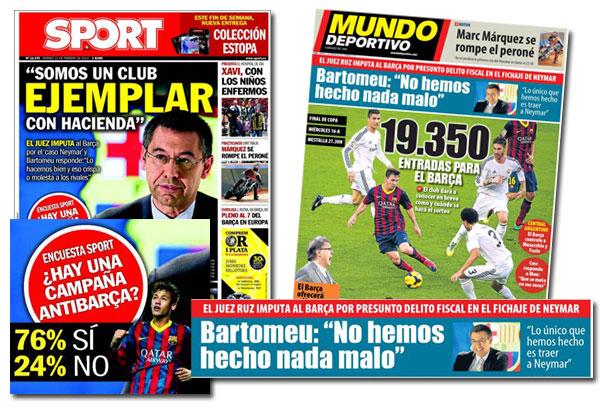Portadas de Mundo Deportivo y Sport con la imputación del FC Barcelona