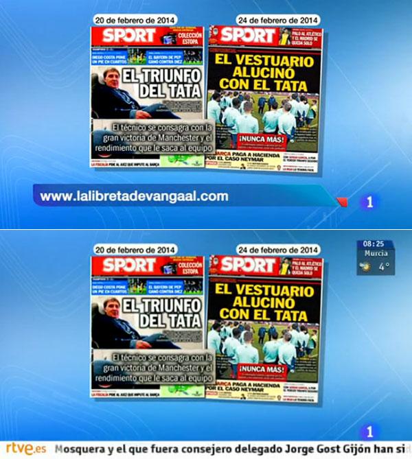 La Libreta de Van Gaal en el Telediario