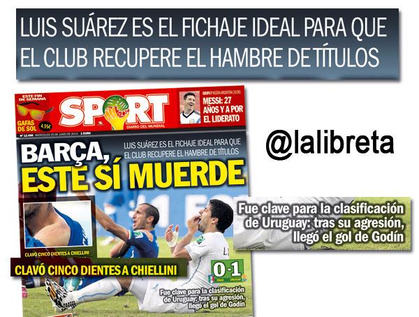 Luis Suárez, portada por su mordisco