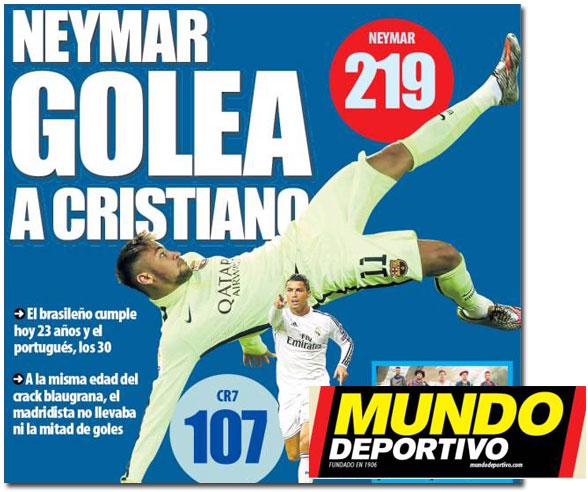 La comparación entre Neymar y Cristiano Ronaldo