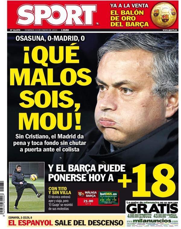 Portada Sport: Qué malos sois, Mou