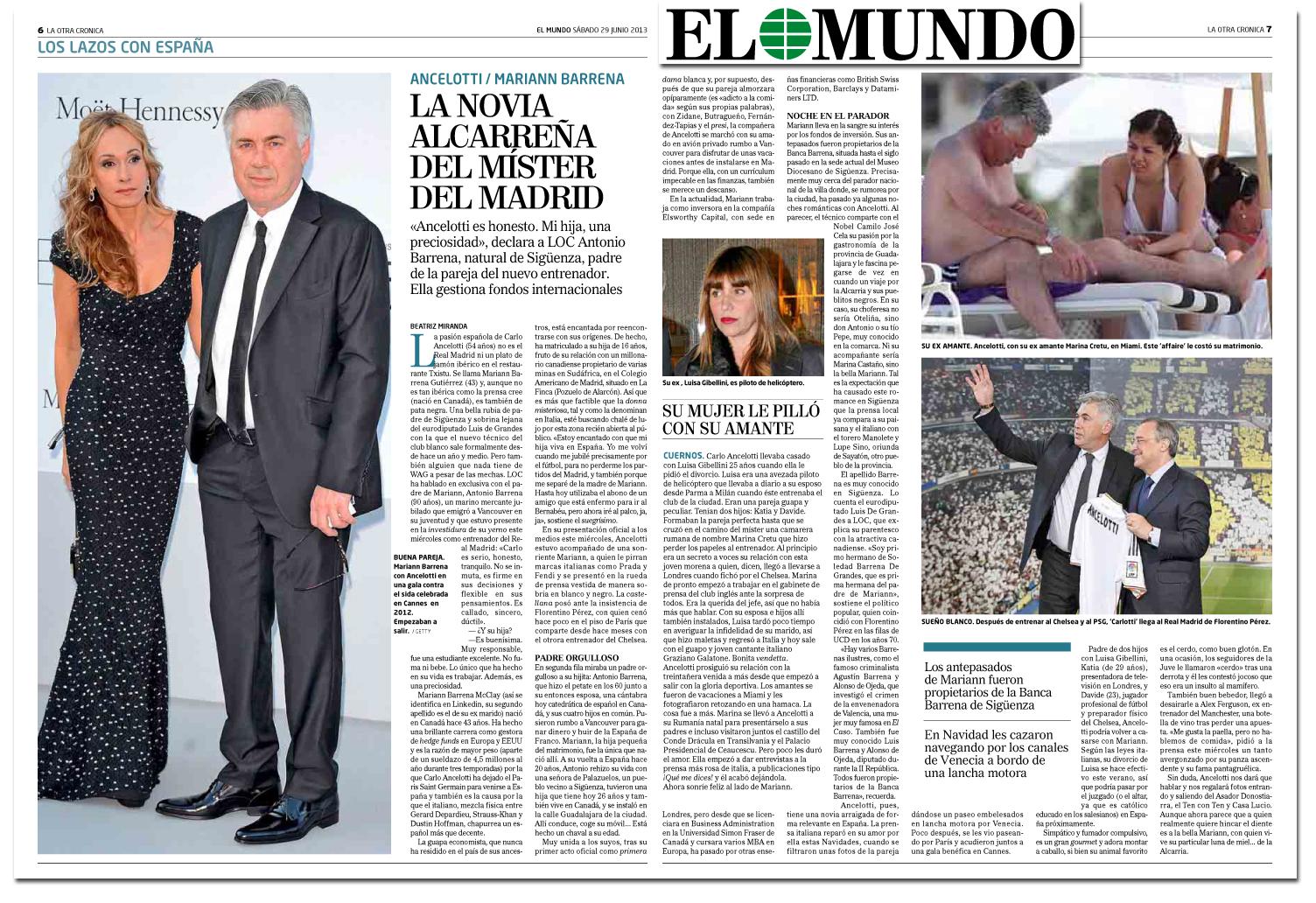 La mujer de Ancelotti en El Mundo