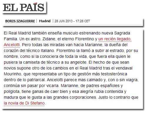 La mujer de Ancelotti en El País