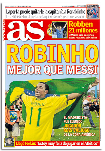 Robinho mejor que Messi