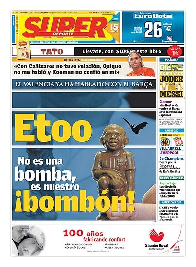 Samuel Etoo en portada del diario Superdeporte