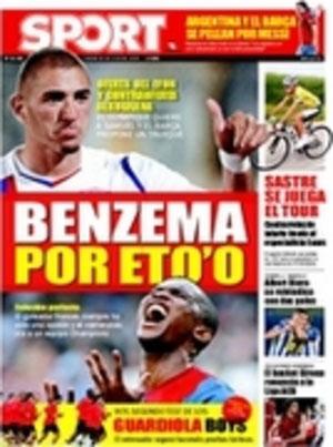 Portada de Sport: Benzema por Eto'o