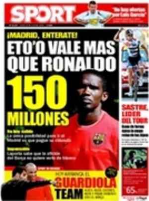 Portada de Sport: Eto'o vale más que Ronaldo