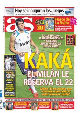 Portada Marca: El Milan reserva el 22 a Kaká