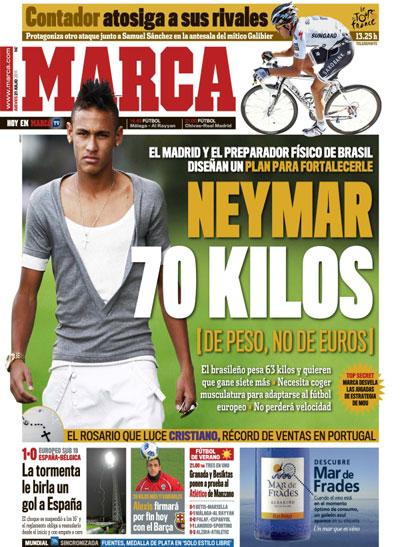 Portada del diario Marca con Neymar