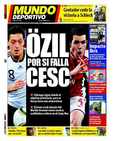 Portada de Mundo Deportivo: Özil por si falla Cesc