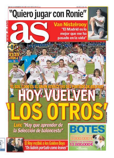 La selección española en portada del diario As