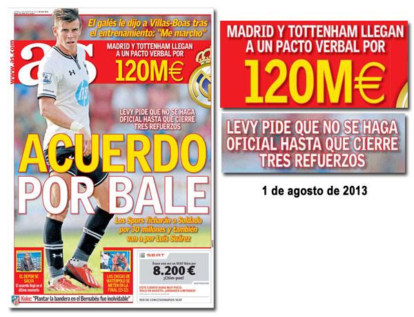 El fichaje de Gareth Bale en portada de As