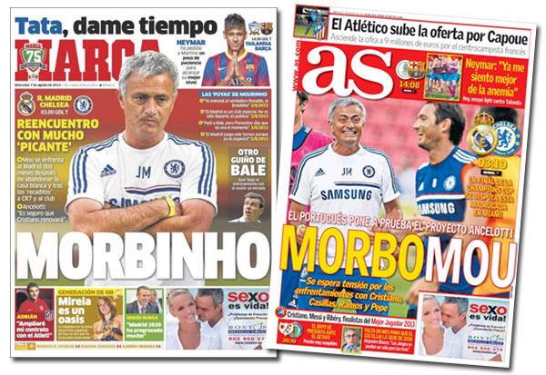 José Mourinho en las portadas de As y Marca