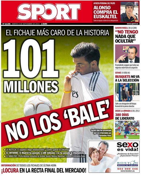 Gareth Bale en la portada de Sport