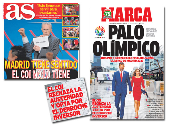 Portadas de As y Marca sobre Madrid 2020